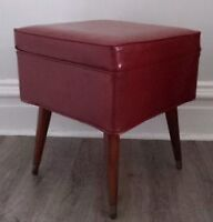 Old Vintage RED VINYL Ottoman Foot STOOL Truck Antique