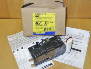 SQUARE D QOB 20 AMP 2 POLE EPD GFI 30 MA CIRCUIT BREAKER ~ NEW!