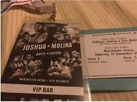 ANTHONY JOSHUA VS ERIC MOLINA RINGSIDE VIP TICKET!