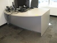 """72"""" grey laminate half moon desk with 1 set of drawers"""