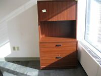 Wooden 2 drawer lateral file cabinet and hutch