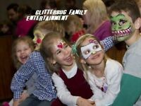 Party face painting, ballloon twisting, glitter tattoos + more