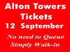 ALTON TOWERS TICKETS x2 FOR FRIDAY 12 SEPTEMBER Bradford