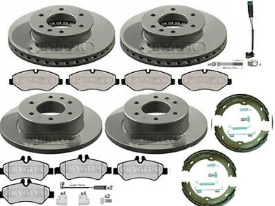 MERCEDES SPRINTER FRONT & REAR BRAKE DISCS AND PADS HAND BRAKE SHOES 2006 - 2016