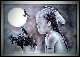 Native American girl. ( Dream-catcher ) A2 pencil , charcoal and ink.