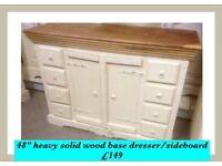 Heavy solid wood sideboard / base dresser vintage shabby chic