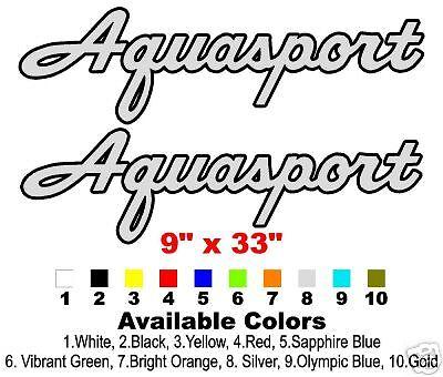 """2 Color Classic Aquasport Boat Decals 9""""x33"""""""