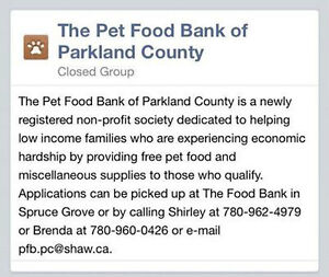 THE PET FOOD BANK of PARKLAND COUNTY