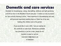 domestic and care services offered at £8.00 an hour