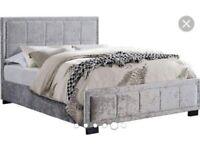 Hannover crushed velvet double bed frame