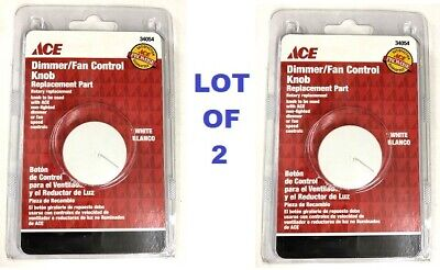 2x White Dimmer / Fan Control Knobs Light Rotary Replacement Part Speed NEW Dimmer Fan Speed Control