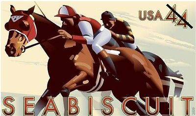 NEW MINT SEABISCUIT 44 STAMPED ENVELOPE RACEHORSE HORSE HORSES RACE RACING U668