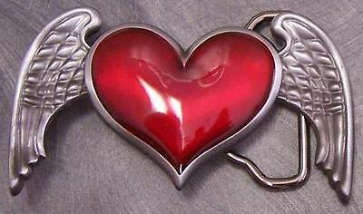 Winged Heart Belt Buckle (Pewter Belt Buckle novelty Winged Heart)