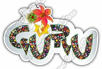 Guru Yoga Meditation Floral Flower Car Bumper Vinyl Sticker Decal 5 X3 5
