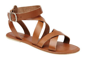 NEW WOMENS LADIES FLAT REAL LEATHER ANKLE STRAP GLADIATOR SANDALS SHOES SIZE