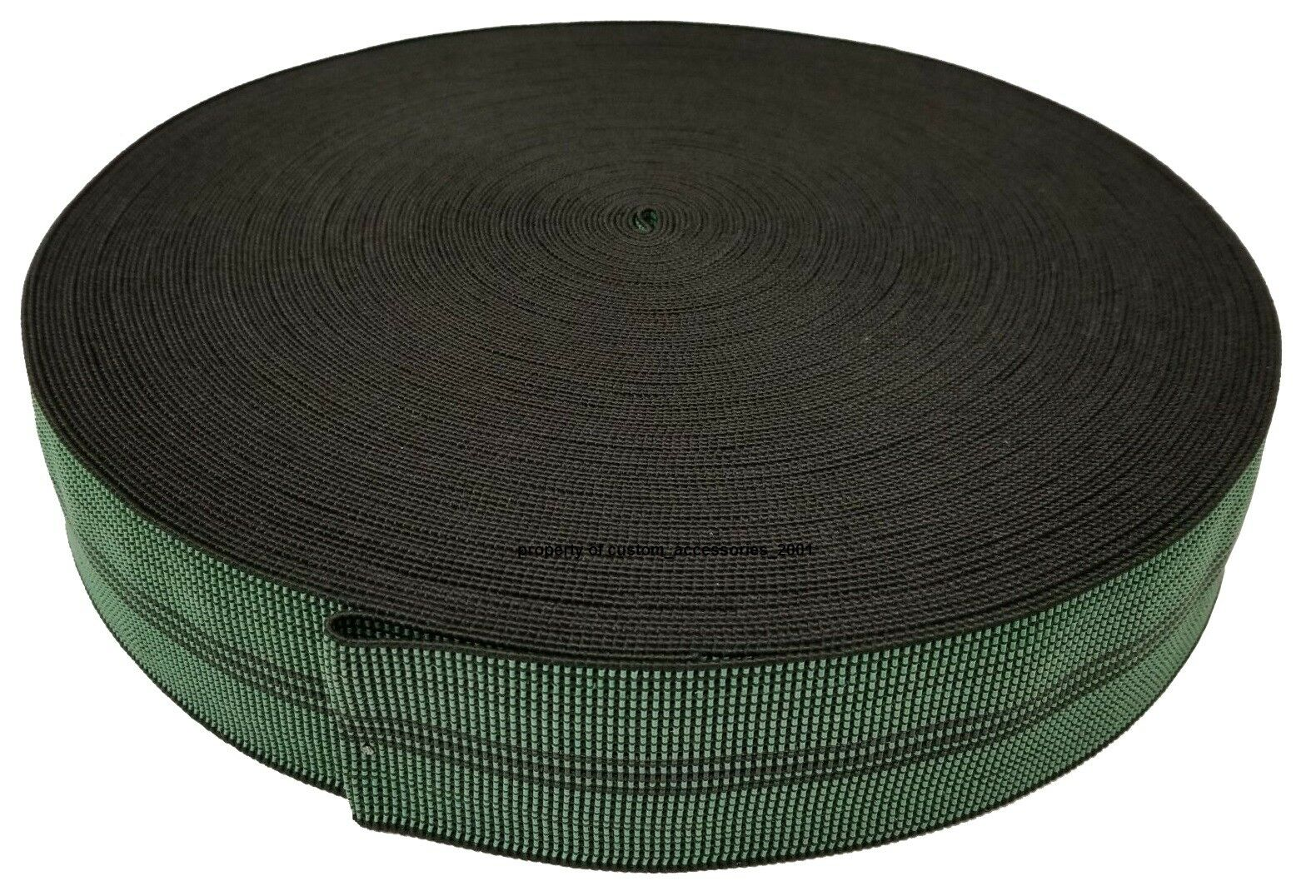 2″ Elastic Furniture Webbing Upholstery 65% Stretch [Black/Green] 164′ Roll Home & Garden
