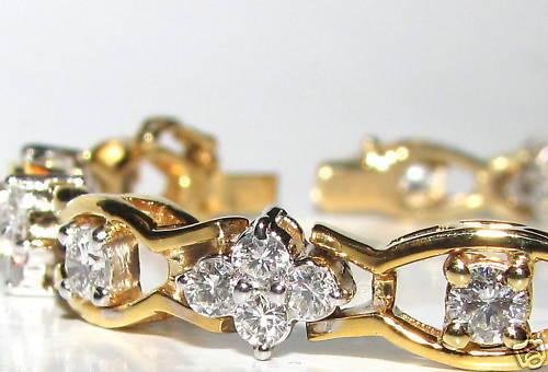 3.65ct Clusters Diamond Bracelet G Vs 14kt Excellent Cuts & Links+