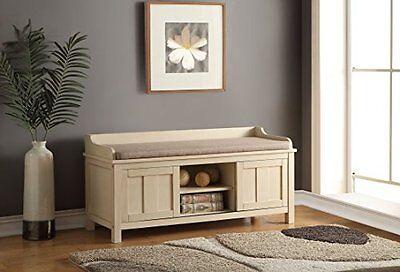 Acme Furniture 96620 Rosio Bench w/Storage, Fabric & Cream N