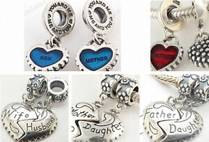925-Sterling-Silver-Mother-Daughter-Love-Dangle-fit-European-Bead-Charm-Bracelet