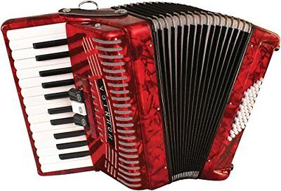 Hohner Hohnica 48 Bass Entry Piano Accordion Pearl Red with Gig Bag & Straps