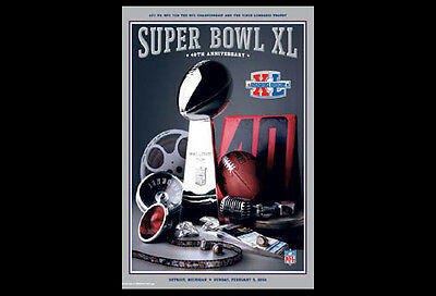 Super Bowl XL (Detroit 2006) Official NFL Football Event POSTER (Steelers Win) ()