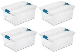 plastic totes storage containers ebay. Black Bedroom Furniture Sets. Home Design Ideas