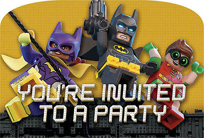 LEGO BATMAN INVITATIONS (8) ~ Birthday Party Supplies Stationery Cards Notes - Lego Birthday Invitations