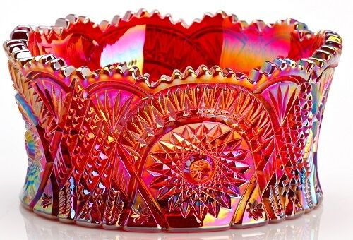 Bowl - Diamond Classic - Red Carnival Glass - Mosser USA