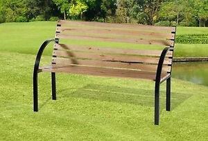 Banc bois metal design mobilier jardin parc exterieur neuf - Banc metal exterieur ...