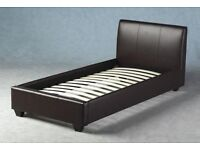Leather single bed frame