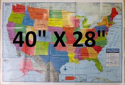 Large Usa Map 40  X 28  Poster Size United States Wall Map  New  Ships From Usa