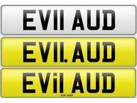 EVIL AUDI private number plate cherished personalised car reg - EV11 AUD