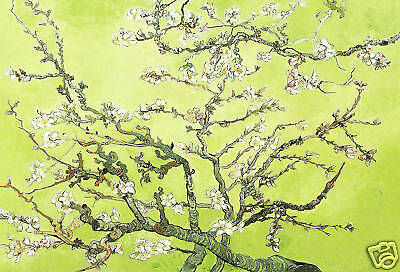 FLORAL CANVAS ART PAINTING GREEN VAN GOGH BLOSSOM A1