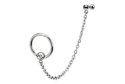 Chain Link Captive Bead Rings TRAGUS CARTILAGE Helix Double Ear Piercing Jewelry