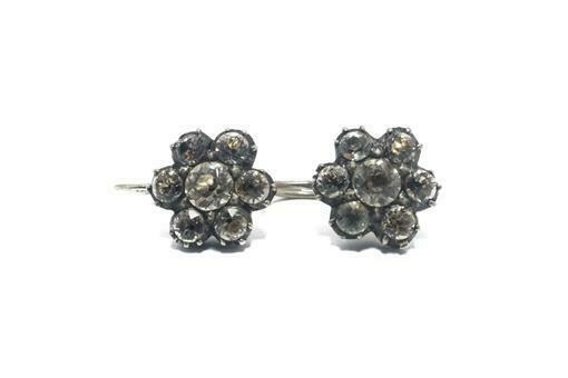 ANTIQUE GEORGIAN FRENCH GOLD & SILVER FOILED PASTE CLUSTER EARRINGS c1830