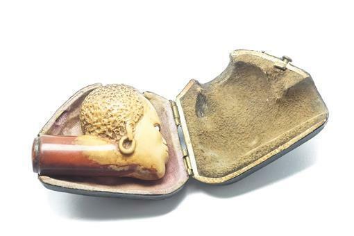 UNUSUAL ANTIQUE VICTORIAN MEERSCHAUM NATIVE AFRICAN NOVELTY PIPE HEAD c1880