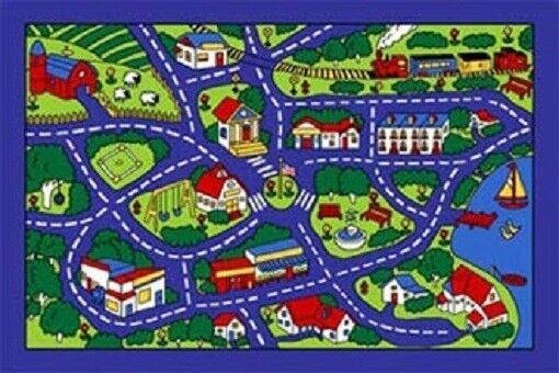 STREET MAP PLAY RUG KIDS 5 X 7 GEL BACK AREA RUG blue