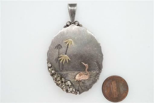 ANTIQUE ENGLISH SILVER & GOLD WATER SCENE STORK AESTHETIC MOVEMENT LOCKET c1880