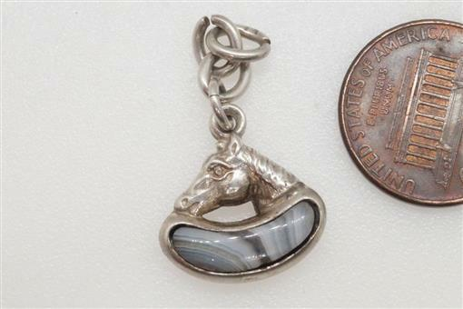 ANTIQUE ENGLISH SILVER LACE AGATE HORSE SHOE & KIDNEY BEAN LUCKY CHARM c1902