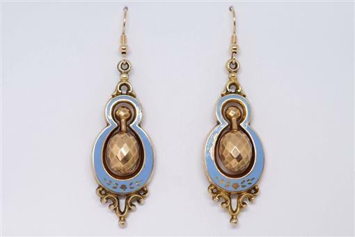 PRETTY ANTIQUE VICTORIAN ENGLISH 9K GOLD & BLUE ENAMEL DROP EARRINGS c1870