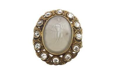 SPECTACULAR ANTIQUE ENGLISH 22K GOLD DIAMOND AGATE INTAGLIO SIGNET RING c1920
