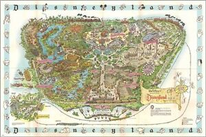 decd2049b88 vintage 1962 DISNEYLAND MAP collectors poster CREATIVE COLORFUL 24X36 rare