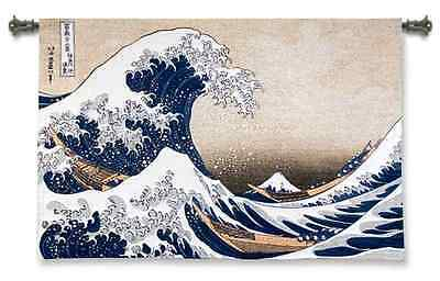 THE GREAT WAVE OFF KANAGAWA ART TAPESTRY WALL HANGING 52x35