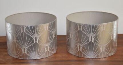 Lamp Shades x 2 - Silver Art Deco Design - EUC