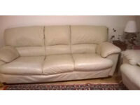 3 and 2 seater beige lether sofas in good condition .