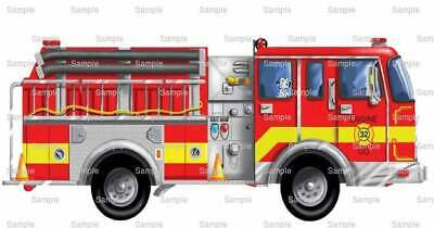 Fire Truck Cupcakes (Red Fire Truck Birthday ~ Edible 2D Fondant Cake Cupcake Topper ~ D555)
