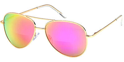 BIFOCAL Sunglasses Aviator - Pink Color Mirror - Read Better, No One Will