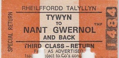 (86904) Talyllyn Ralway Ticket Tywyn Nant Gwernol Return 3rd Class