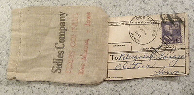 1949 Sidles Auto Co., Des Moines,Iowa, Peterzalek Car Garage,CLUTIER IA Sack,Bag