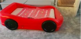 Little Tykes Red Car Bed - with unused lightning McQueen stickers.